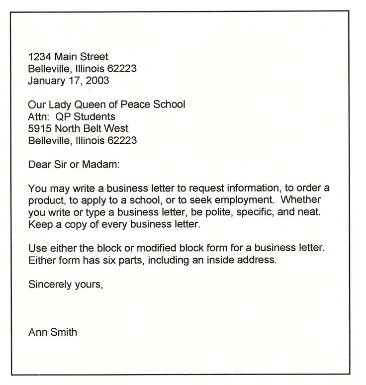 Formal Business Letter Sample Business Formal  Business Letter
