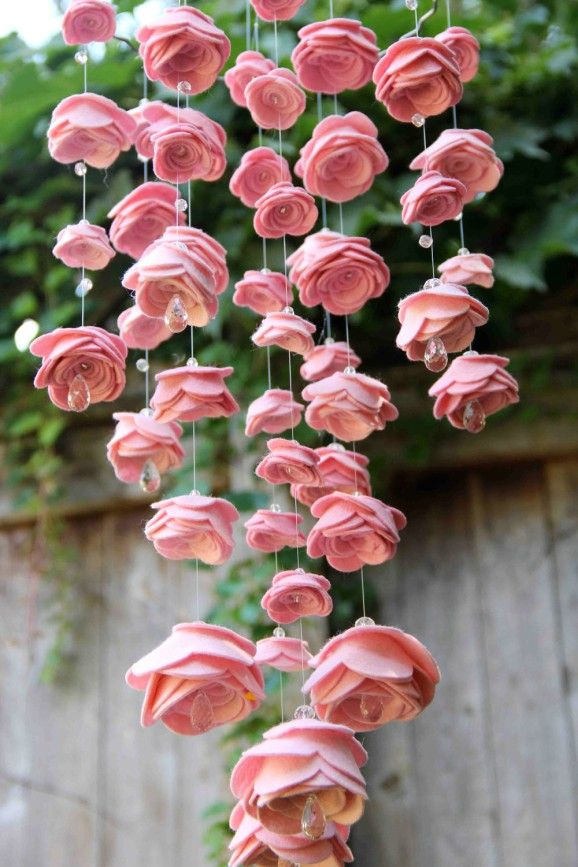 Felt flower & crystal bead mobile...gorgeous!