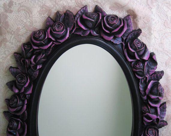 Black Rose Wall Mirror Vintage Oval Fushsia by WildMountainStudio, $195.00