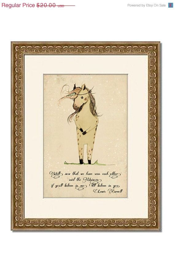 Sale Unicorn quote 'if you'll believe in me I'll believe by holli, $16.00