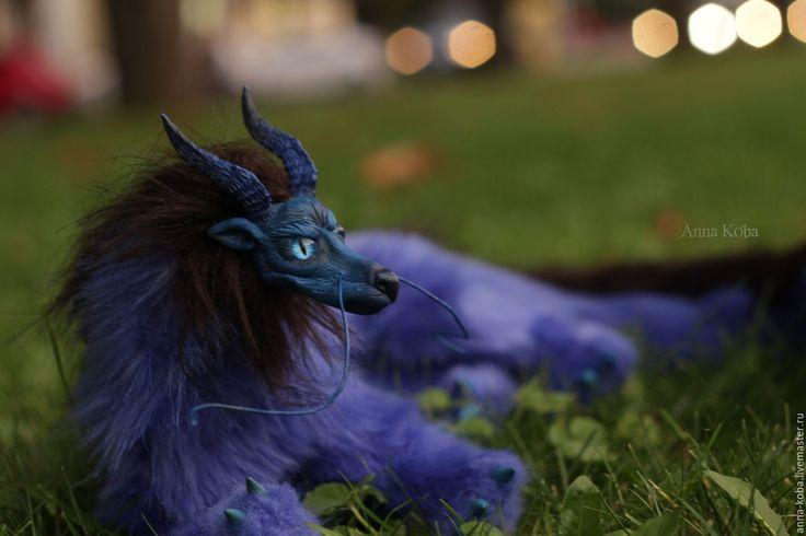 Купить Синий дракон - синий, черный, дракон, фентези, китайский дракон, мудрость, полимерная глина