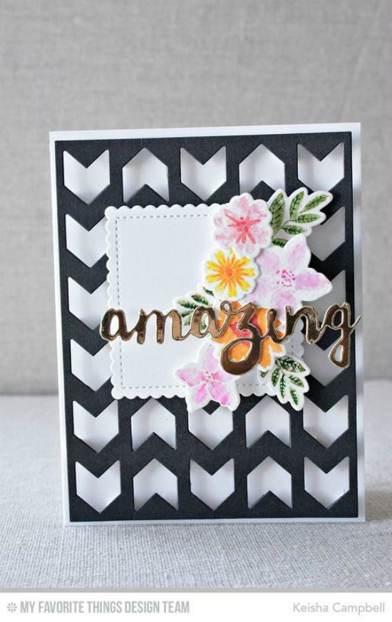 Golden Amazing Card by Keisha Campbell featuring the Mini Modern Blooms stamp set and Die-namics, and the Doubly Amazing, Chunky Chevron Cover-Up, and Stitched Mini Scallop Squares STAX Die-namics #mftstamps