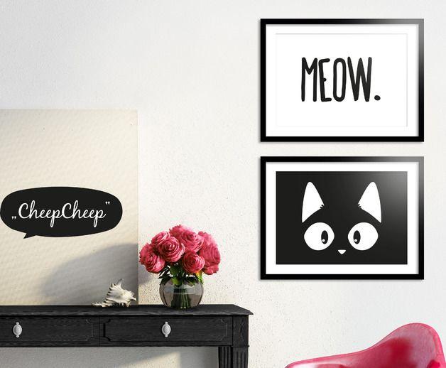 Kunstdruck im Set, A4 / typo and illustrated artprint, set for cat lovers, cat content by CheepCheep via DaWanda.com