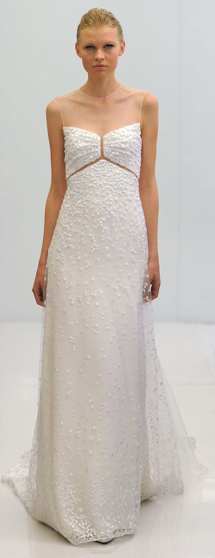 White gown with beading embellishments | Angel Sanchez Spring 2017 | https://www.theknot.com/content/angel-sanchez-wedding-dresses-bridal-fashion-week-spring-2017