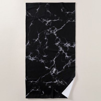 Elegant Marble style4 - Black and White Beach Towel - black gifts unique cool diy customize personalize