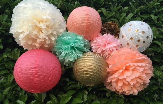 Seidenpapier-Pom-Poms und Papierlaternen sind eine gute Möglichkeit, Ihren besonderen Anlass zu feiern!  Ob Geburtstag, Bridal Dusche, Baby Shower,