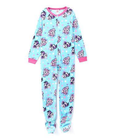 Look what I found on #zulily! Turquoise & Pink My Little Pony Footie - Girls #zulilyfinds