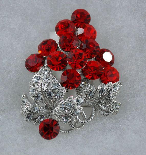 Red Grapes crystal Brooch by XYSAccessories on Etsy