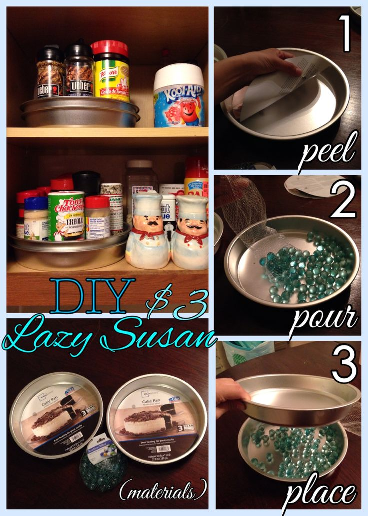 DIY Lazy Susan for your pantry or spice cabinet. I purchased two cake pans at Walmart for .88 a piece and one pack of marbles for $1 at Dollar Tree. Put the materials together following the step by step photos. There you have it, a $3 Lazy Susan that takes less than 1 minute of your time to diy.