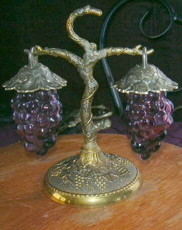 Grape Hanging Salt And Pepper Shakers Brass And Glass Salts