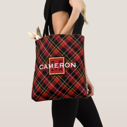 Custom Scots Red Black Yellow White Tartan Pattern Tote Bag - cool gift idea unique present special diy