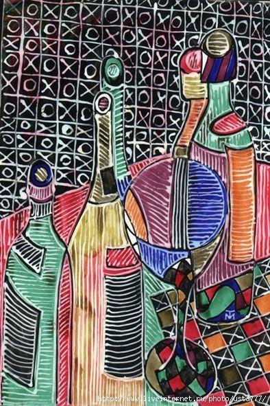 акварель, цветные туши, белила