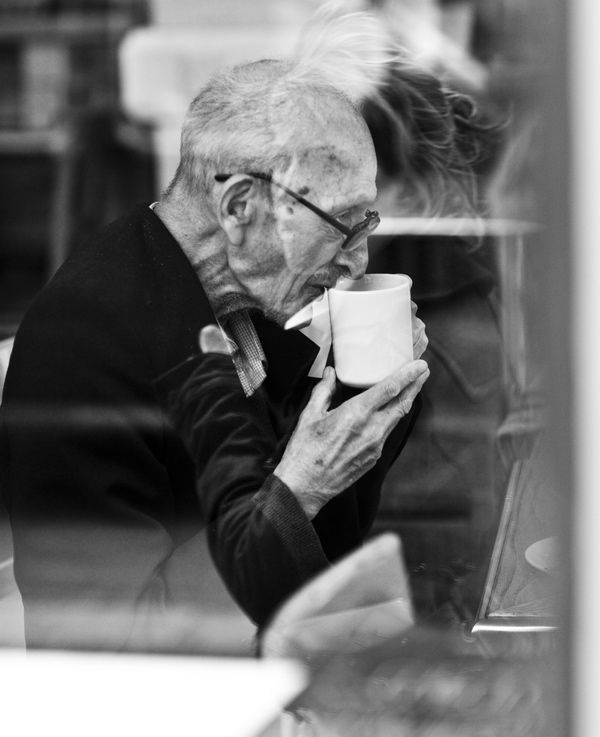 girl passing, cafe, drinking, cofee, tea, coffee shop, urban, passerby, reflection, window, overlap, juxtaposition, youth, old age,: