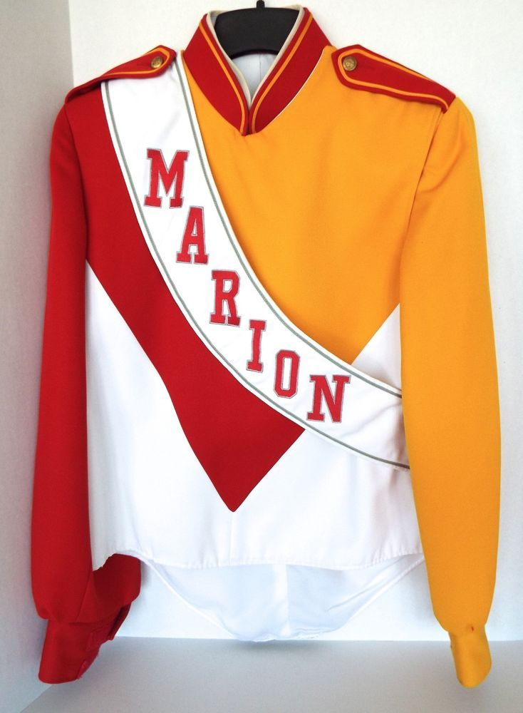 MARION IOWA HIGH SCHOOL MARCHING BAND JACKET 38R DEMOULIN 100% POLY MADE IN USA