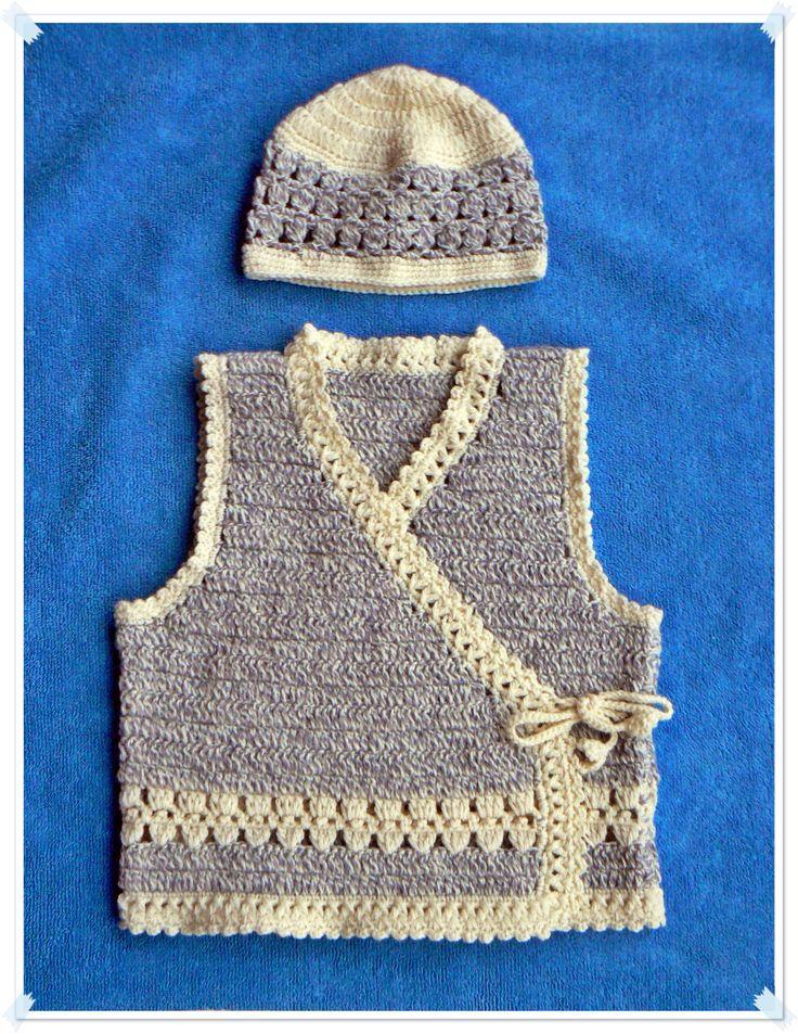 Crochet vest and hat.