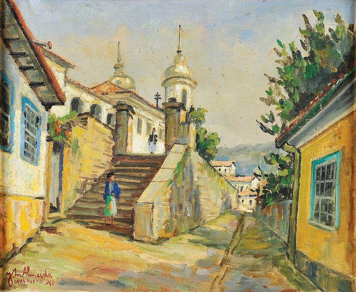 """""""Sol da manhã - Igreja de São Francisco de Assis"""" by JOSÉ MARIA DE ALMEIDA - SÉC. XX"""