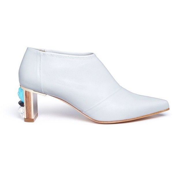 Gabriela Hearst 'Catt' stone inset heel leather booties ($993) ❤ liked on Polyvore featuring shoes, boots, ankle booties, white, leather ankle booties, white booties, white boots, white leather boots and leather booties