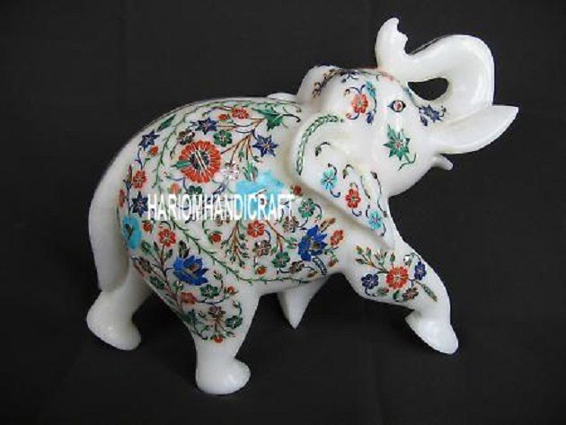 8'' White Marble Elephant Sculpture Marquetry Floral Good Luck Gift Decor H3135
