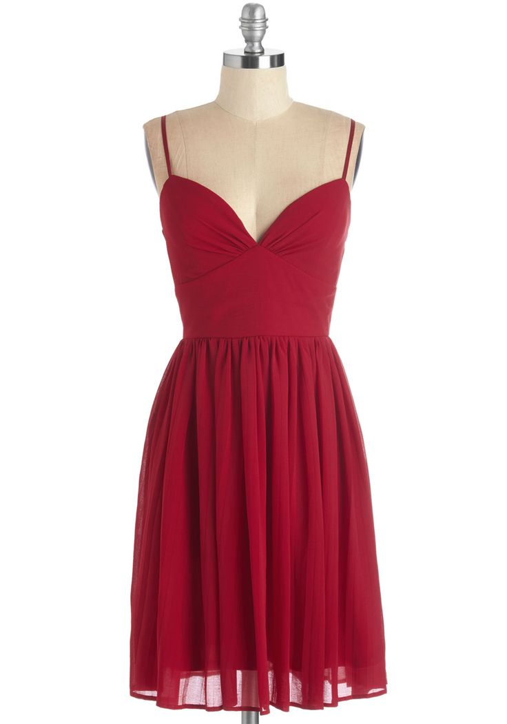 Looking Red Haute Dress in Rouge - Red, Solid, Pleats, Party, Girls Night Out, A-line, Knit, Good, Sweetheart, Mid-length, Spaghetti Straps, Valentine's