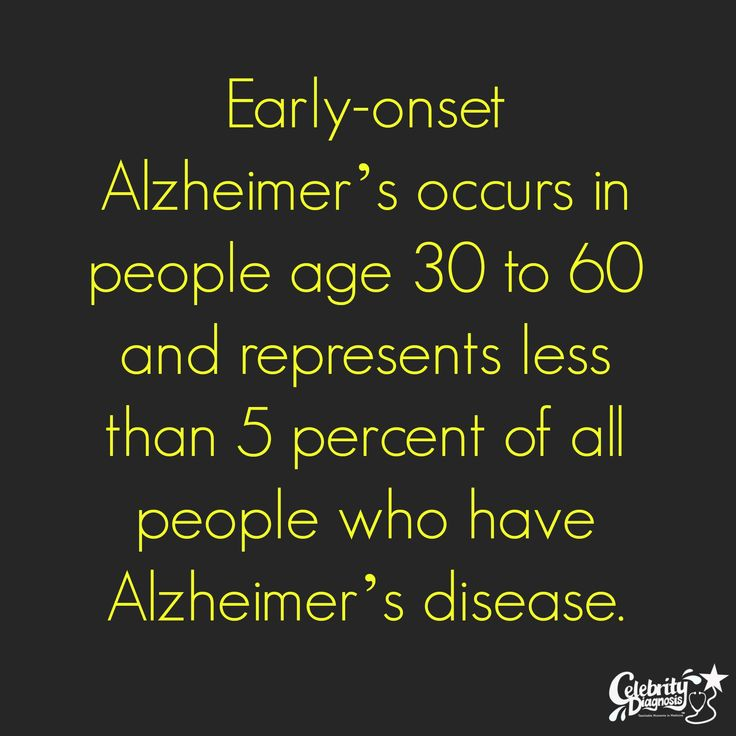 Early-onset #Alzheimer's occurs in people age 30 to 60 and represents less than 5 percent of all people who have Alzheimer's #disease.