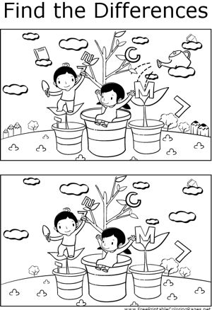 Teachers can use this printable coloring page to help students spot the differences between two pictures of children growing letter plants.
