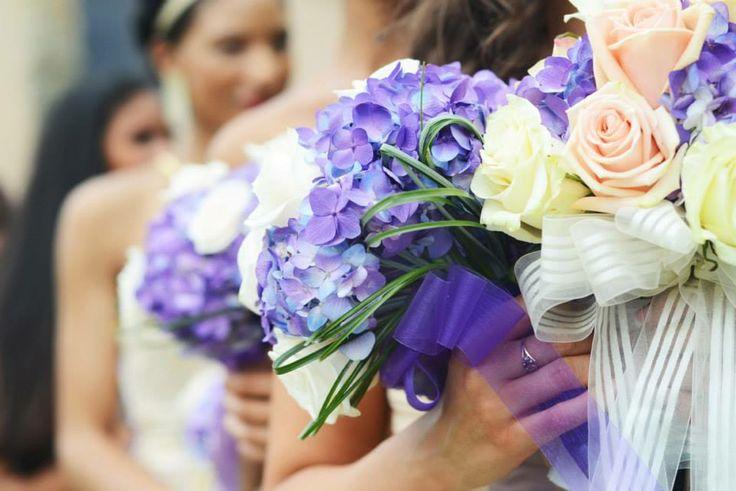 Wedding bouquet - purple hydrangeas and white roses