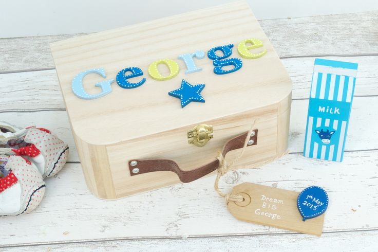 Baby Wooden Memory Box Keepsake Box Children's suitcase style Memory Box New Baby Gift Birthday Gift Personalised Memory Box by Popsyclunk on Etsy