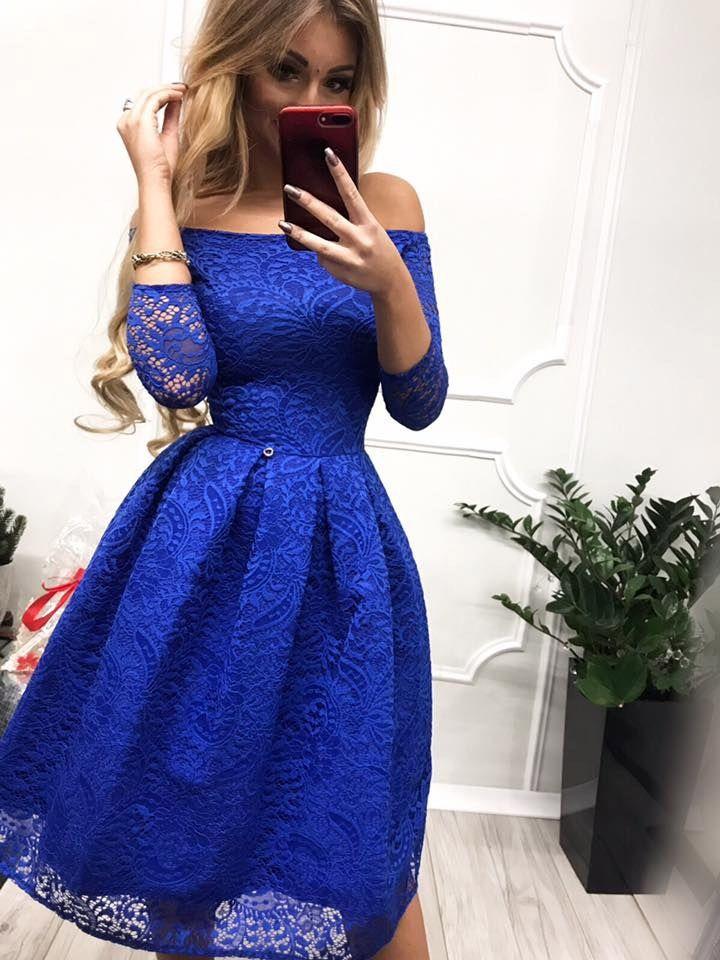 19a842d2f0 Sukienka chabrowa scarlett midi rozkloszowana odkryte ramiona w 2019 ...