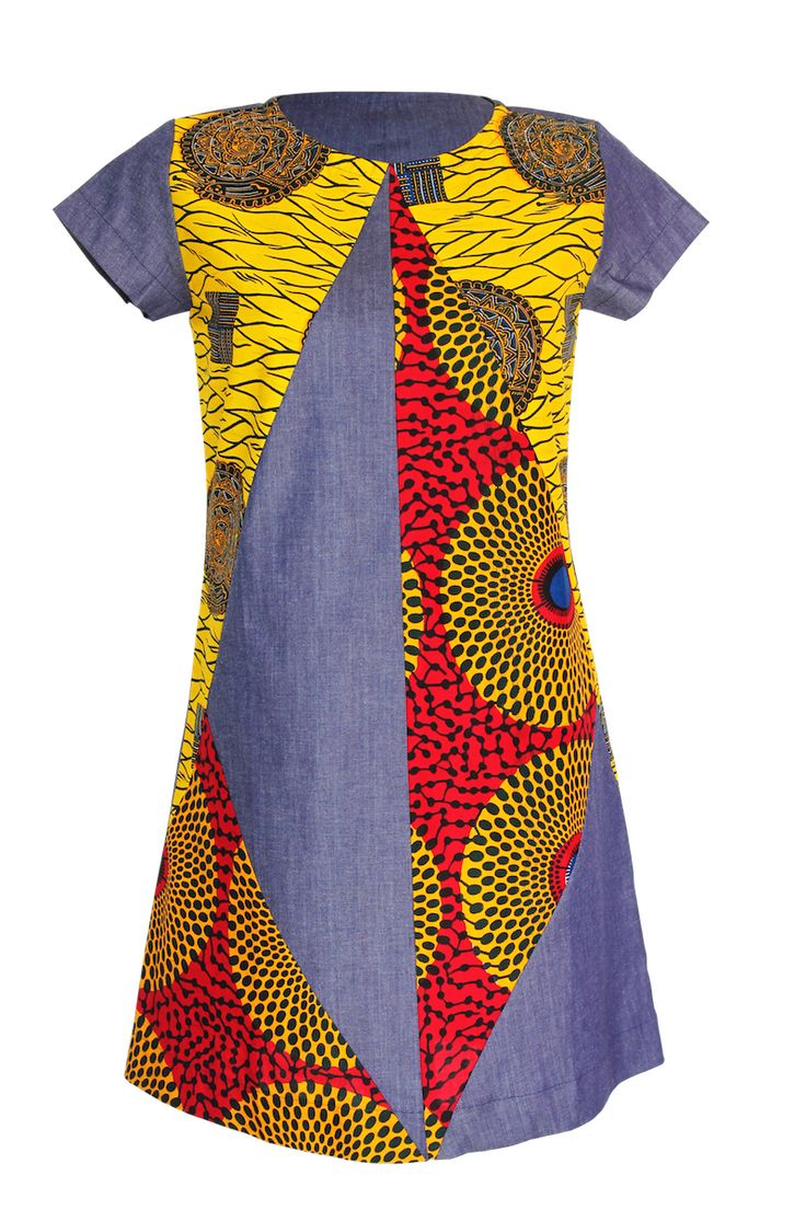 YALERRI – ROBE TRAPÈZE JEAN | Denim and African Print ...