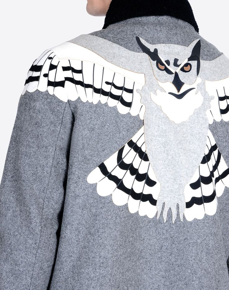 Valentino Online Boutique - Valentino Men Wool Jacket With Owl Embroidery