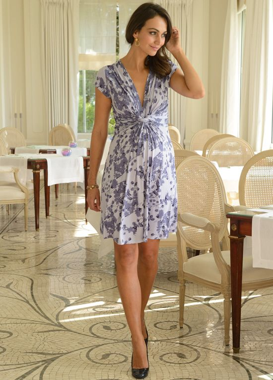 Queen Bee Lavender Blossom Knot Front Maternity Dress by Seraphine