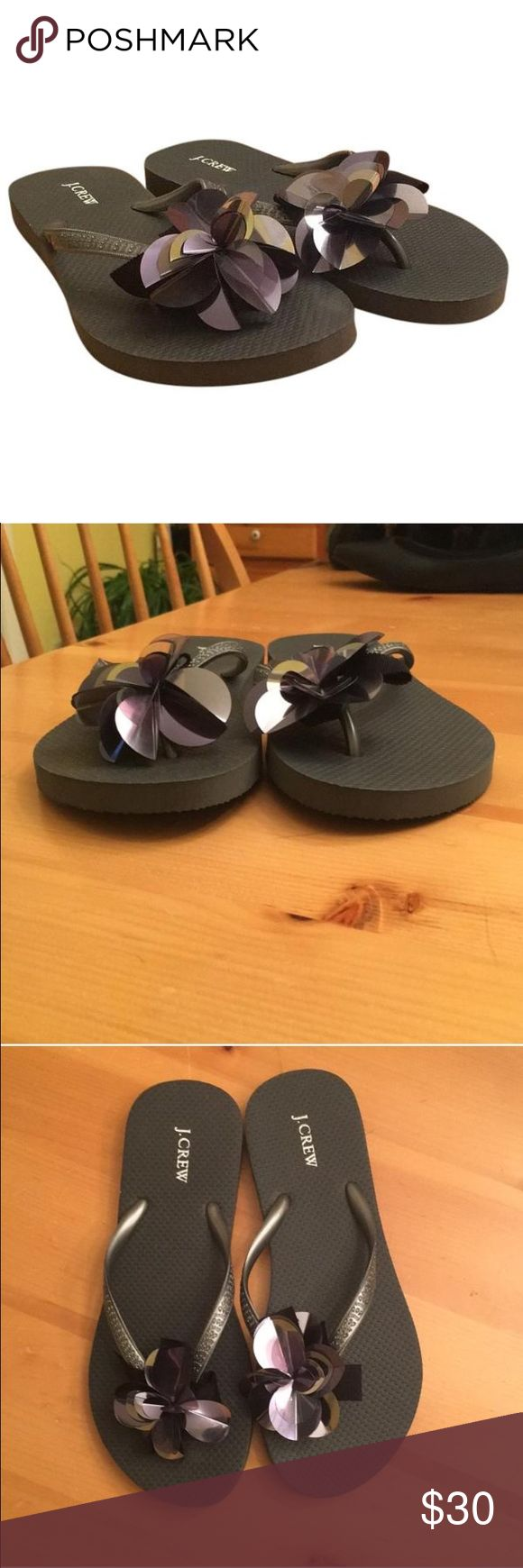J. Crew Pewter Sandals Gray/pewter flip flops with sequin flower accent. J. Crew Shoes Sandals