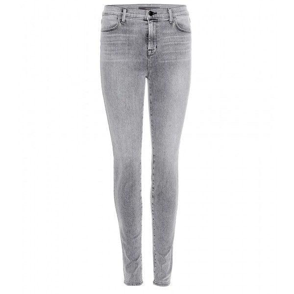 J Brand Maria High-Rise Skinny Jeans ($295) ❤ liked on Polyvore featuring jeans, grey, j brand jeans, skinny leg jeans, gray high waisted jeans, grey jeans and j brand
