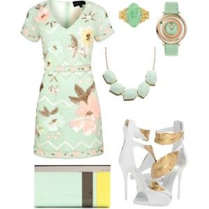 light green cute outfit with white high-heels