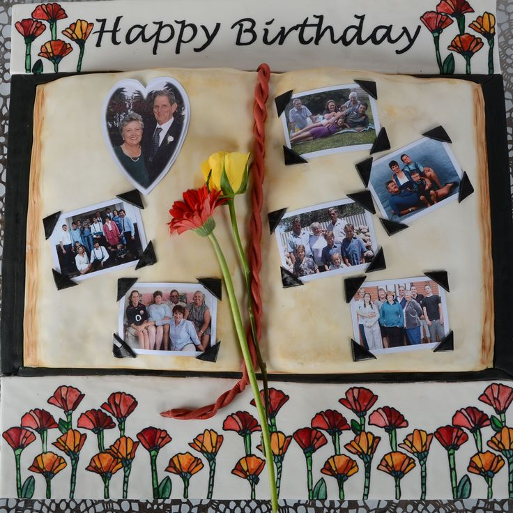 The Cake Artists - Photo Album Cake with Stained Glass Hand Painted Flowers