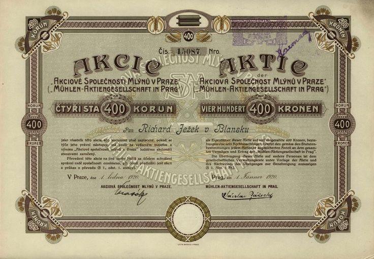 Akciová společnost mlýnů v Praze (Mühlen-Aktiengesellschaft in Prag). Akcie na 400 Kč. Praha, 1920.