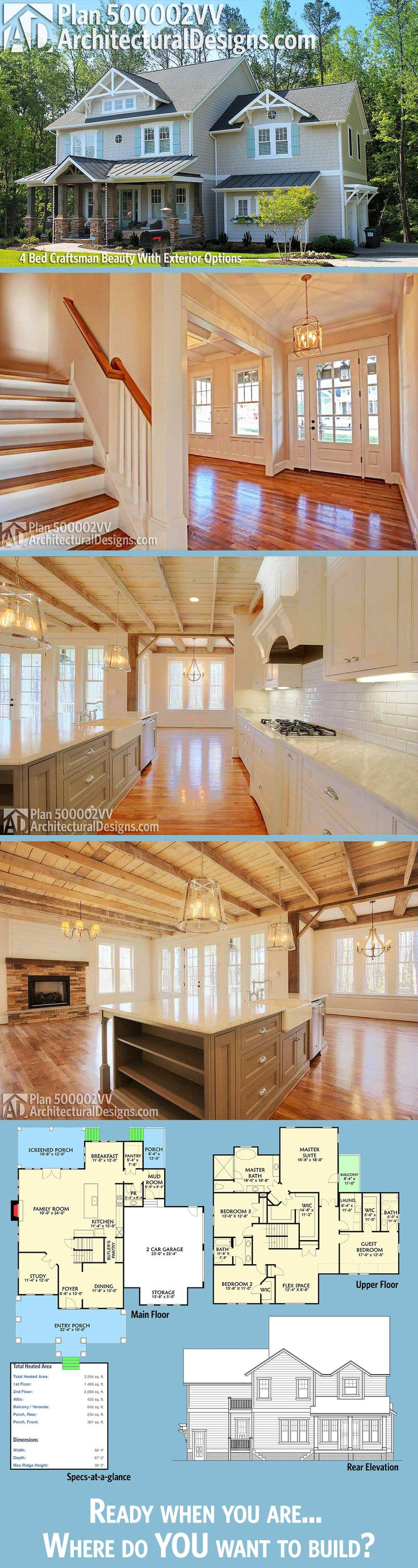 Craftsman homes for american dream builders fans zillow blog - Plan 500002vv 4 Bed Craftsman Beauty With Exterior Options