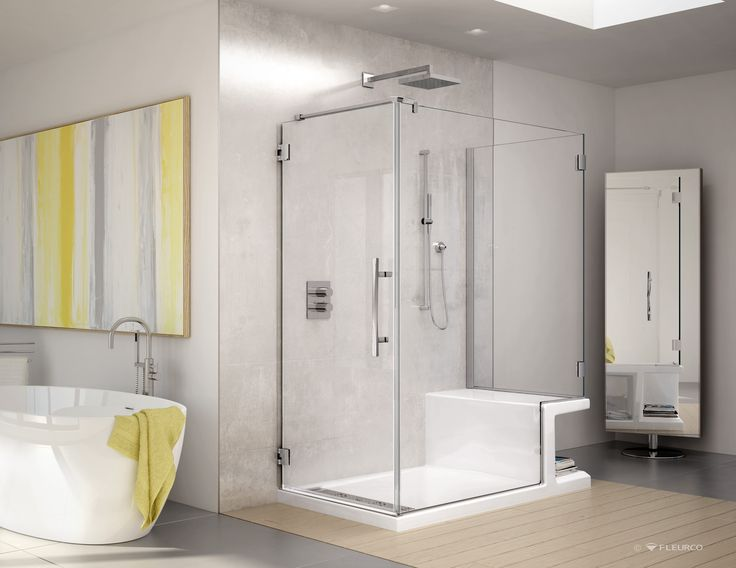 CORTEROS SHOWER BASE WITH SEAT WITH PLATINUM SHOWER DOOR. Both Products By  Fleurco