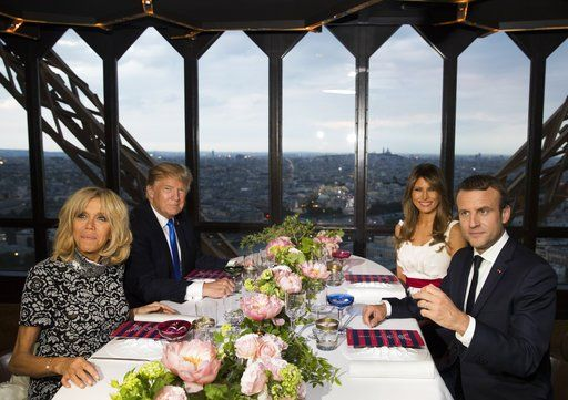 Trump, Macron dine at Eiffel Tower in display of warming relationship