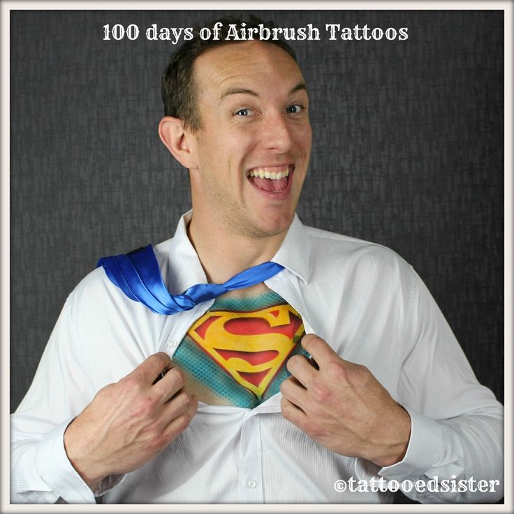 """#Superman or #ClarkKent ? Either way this is a dear friend of mine who modelled for me. This photo  always puts a big smile on my face  The tutorial on how to do a Superman #ChestTattoo is in my   #onlinecourse""""Become a Pro Airbrush Tattoo Artist͟""""  If you would love to learn how to create amazing airbrush tattoo artworks. You can enrol by clicking the link at the top of the page. You will  get a free gift, and I will let you know when enrolments are going to open again. #freetutorials"""