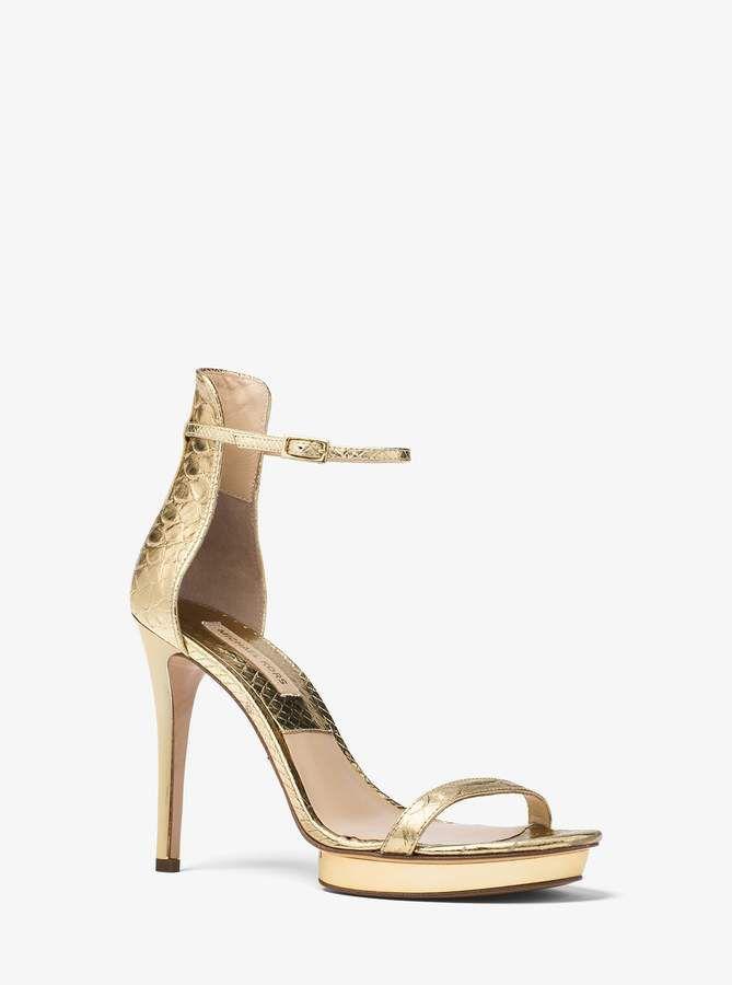 a298e5dd7 Michael Kors Collection Doris Metallic Snake-Embossed Leather Sandal ...
