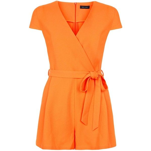 New Look Bright Orange Wrap Front Tie Waist Playsuit ($29) ❤ liked on Polyvore featuring jumpsuits, rompers, spicy orange, playsuit romper, wrap front romper, summer rompers, summer romper and orange romper