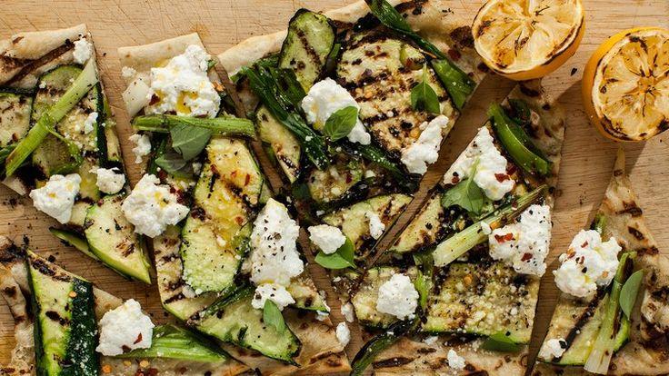 Grilled Zucchini and Ricotta Flatbread | Bon Appetit