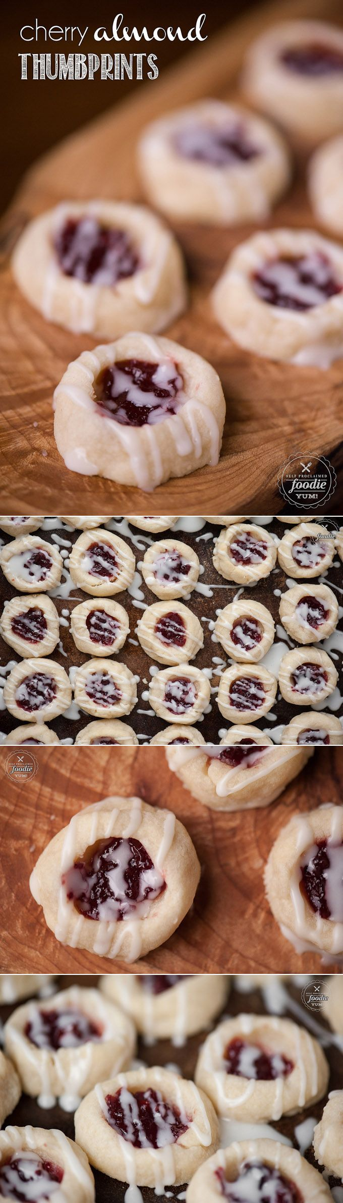 Cherry Almond Thumbprints - Pairs the delicious flavors of cherry preserves and almond to make a buttery shortbread cookie that is perfect for the holidays.