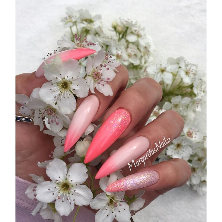 Coral ombré stiletto nails summer 2016 nail art