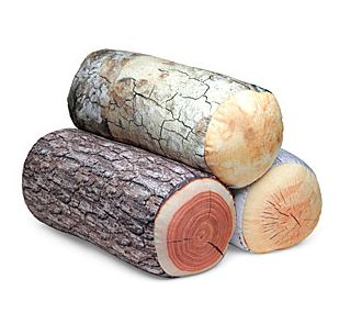 Creative pillows designed like logs of different trees. Perfect for car rides, camping or cabin decor!