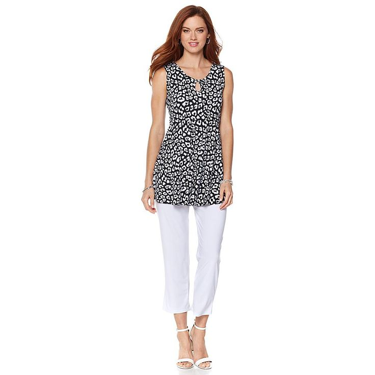 Slinky® Brand 2-piece Printed Sleeveless Tunic and Cropped Pant - Blkwhtleopard/Wht