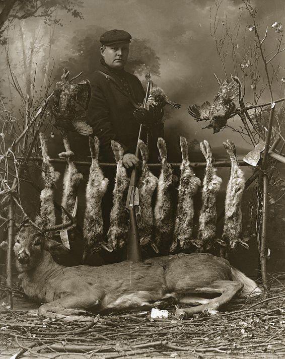 Vintage Deer Hunter With Partridge Rabbits One Day Hunt J.W. Nara Calumet MI WOW