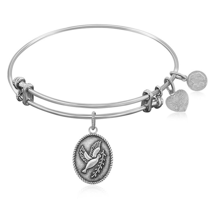 An expandable bangle in white tone brass. A Since the time of the new testament, the dove and olive branch has been a symbol of peace.Specification Bangles Fini