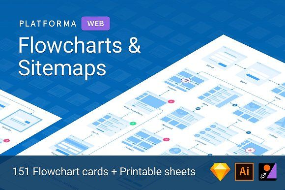 Platforma Flowcharts for Web by Great Simple on @creativemarket